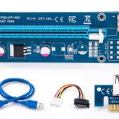 Райзер для видеокарты pci e 16x для майнинга 4 pin. USB 3,0 PCI-E pci e Riser Express 1X 4x 8x 16x удлинитель адаптер SATA 15pin. до 6pin. 2021 г. 590 RUB