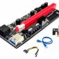 Райзер для видеокарты pci e 16x. Для майнинга. 6 pin PCI-E pcie Riser 009 Express 1X 4x 8x 16x расширитель PCI E USB Riser 009S двойная 6-контактная карта адаптера SATA 15pin для майнера BTC. 2021 г.